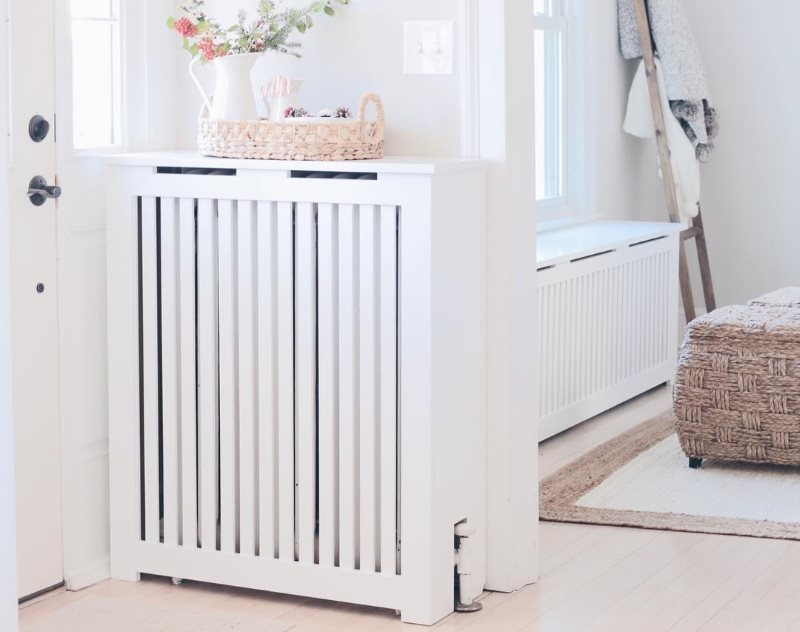 Our custom white radiator cover as seen in Hartford, CT