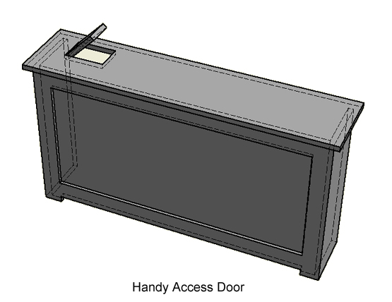 Access door for easy access to valves on radiators