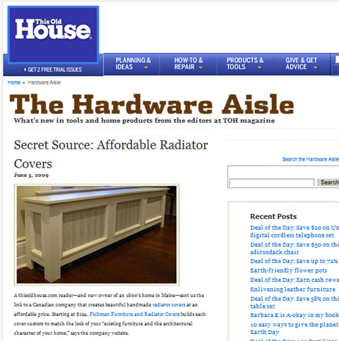 Fichman Furniture Radiator Covers featured on This Old House