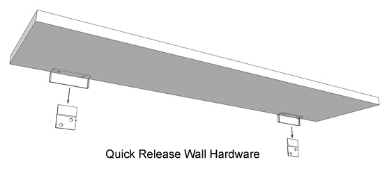 Wall hardware to fasten radiator covers to the wall